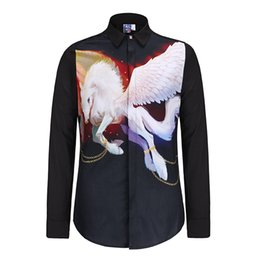 Wholesale Horses Flies - Men Fashion Shirt Brand Denim Men 3D White Fly Horse Print Shirts High Quality Long Sleeve Men Casual Shirt City Famous Brand