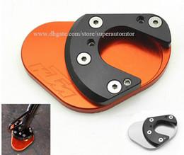 Wholesale Motorcycle Kickstands - Aftermarket CNC Aluminum Motorcycle Side Stand Kickstand Plate Pad Extension For KTM DUKE200 390 690 990