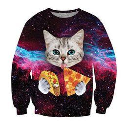 Wholesale Mens Hoddies - Wholesale-2016 Spring Men Women's Head Creative Sweatshirts 3D funny Cat Painter Tops Clothing new designer mens cool cat pattern hoddies