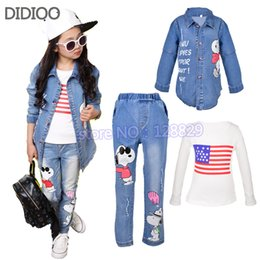 Wholesale China Child Clothes - Wholesale- Children sports suit autumn girls clothing set kids denim coat & long sleeve t shirt & jeans 3 pcs china clothes free shipping