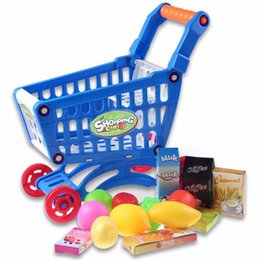 Wholesale Shopping Cart For Children - Cute Mini Children Supermarket Shopping Cart With Full Grocery Food Toy Fun Prentend For Kids Children Kitchen Play Toys