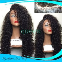 "Wholesale Pink Afro - Hot Glueless Heat Resistant Natural Black Dark Brown Afro Kinky Curly Synthetic Lace Front Women Wigs #1 #2 (Aurica-22.25""M)"