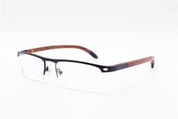 Wholesale Wood Framed Optical Glasses - eyeglasses frame Natural Wood Legs Pure Half Frame Optical glasses frame restoring ancient ways oculos de grau men glasses frames ca4581369