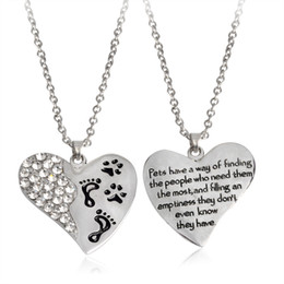 """Wholesale Silver Plated Chains Findings Necklace - Heart shaped Footprint Pendant Necklace """"Pets have a way of finding the people who nees them the most"""" Paw Creative Necklace Pet Jewelry"""