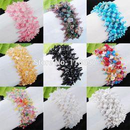 Wholesale Gem Weave - Wholesale- Free shipping New Fashion Beads Chip Weave Adjustable Bracelet Gem 4~8mm IBK137