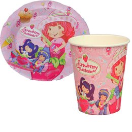 Wholesale Paper Strawberries - Wholesale-100pcs strawberry shortcake Paper Plates and Cups Party supplies birthday party decoration disposable tableware