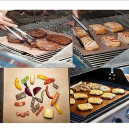 Wholesale Electric Heating Oven - DHL free Copper Grill Mat Barbecue Grilling Liner BBQ Portable Non-stick Reusable Oven Hotplate Mats Outdoor Picnic Cooking Barbecu