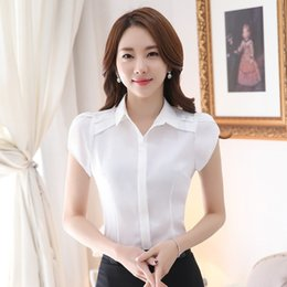 Wholesale Under Clothes - 2017 New Summer Female Clothing Petal Sleeve Square Neck Chiffon Shirt Loose Short Sleeve Blouse Tops Under Shirts Pure Color Blouses