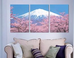 Знаменитые флористические картины онлайн-Известный Японский Пейзаж Искусство Фотографии Современный Номер Декор Стены Вишни Картины Гора Фудзи Холст Картины 3 Шт. Горячая