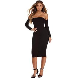 Wholesale White Club Dresses For Women - Autumn midi bodycon dress for women sexy off shoulder strapless women party dress new hot night club women dress free shipping