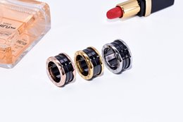 Wholesale Ceramic Ring Titanium - Black and white ceramic ring silver rose gold ring arc titanium ceramic ring with original box