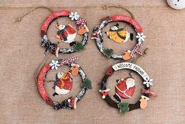 2019 glitterband großhandel rot Handgemachte hochwertige Weihnachtsverzierung Blumen Ornament Shop Shop Tür Wandbehang weiche Keramik Weihnachtsmann Blume Ring