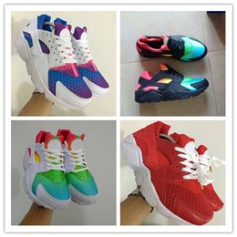Wholesale Tassels Multicolor - 2017 Air Huarache Sky Blue Rainbow Red White Inkjet Running Shoes ,Fashion Men Women Casual shoes Huaraches Multicolor Sport Sneakers