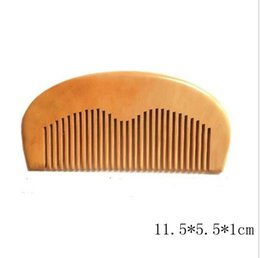 Wholesale Wooden Hair Brushes - 1pcs Natural Peach Wooden Comb Beard Comb Pocket Comb 11.5*5.5*1cm free shipping