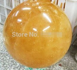 Wholesale Calcite Ball - free shipping 75MM Natural Citrine Calcite Quartz Crystal Sphere Ball Healing Stand