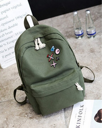 Wholesale Trade Backpack - The latest trend of the palace off white simple simple color canvas shoulder bag badge fashion backpack foreign trade college wind