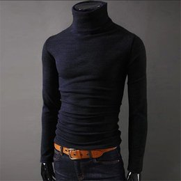 Wholesale Design Options Sweaters - Wholesale- 2017 NEW Men Winter Warm Turtleneck Pullover Thermal Sweater Multi color option Solid design Soft and Warm free shipping T6740