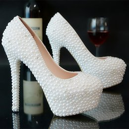 Wholesale Hot Sexy Heels Cheap - Hot Sale White Wedding Shoes 2017 5-14CM Luxurious Crystals and Pearls High Heels Fashion Design Cheap Ivory Bridal Shoes Sexy Evening Par