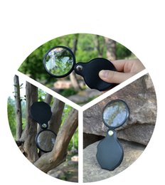 Wholesale Mini Magnifying Glass Portable - 200pcs 10x Portable Mini Black 50mm Hand-Hold Reading Magnifying Magnifier Lens Glass Foldable Jewelry Loop Jewelry Loupes