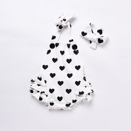 Wholesale Infants Suspenders - 2017 New Baby Jumpsuit Fashion Love Heart Ruffle Suspender Toddler Romper Summer Girls Onesie+Butterfly Hair Accessorie Infant Sets C197
