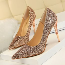 Wholesale White Pumps Blue Flowers - New High Heels Flowers Carved Metal Heels Pointed Toes Glitter Shoes Women Ladies Wedding Pumps 8 Colors