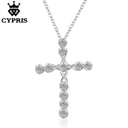 Wholesale 925 Cz Price - WHOLESALE 016 N668 Lowest price Cross Christ Jesus necklace Religion women silver crystal CZ stone mercy jewelry 925 sterlingl