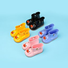 Wholesale Rubber Boots Jelly - Rain Boots Rain Shoes Kids Cute Cartoon Fashion Rhinoceros Rubber Boys Girls Snow Jelly for Children PVC Non-slip