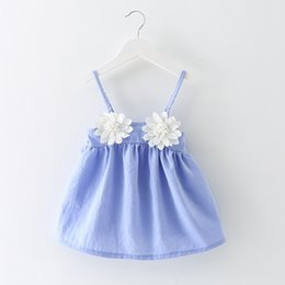 Wholesale Dresses Baby Cool - New Baby Dress Sweet Girls Dresses Children Clothing Flower Gallus Suspender Dress Cool Beach Holiday Dress For Babies Girl Blue Pink A6854