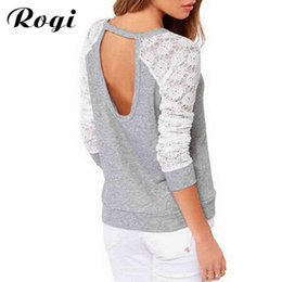 Wholesale Tee Shirt Jumper Lace - Wholesale- Rogi Women Long Sleeve Lace T-Shirt 2017 Fashion Casual Lace Patchwork Female T Shirts Jumper Tee Top Camisetas Mujer Plus Size