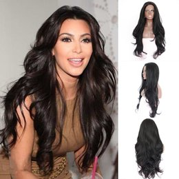 Wholesale Long Wavy Lace Fronts - natural wave front lace natural hairline with baby hair long synthetic lace front wigs heat resistant wavy synthetic wigs for black women