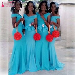 Wholesale Event Dress Girl - Mint V-Neck Mermaid Charming Black girl Bridesmaid Dresses With Bow African Wedding Guest Dresses Vestido de festa Off the shoulder Event