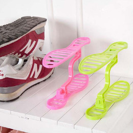 Wholesale Floor Double - Storage Holders Shoes Rack organizer Space saver Space saving storage rack detachable double shoes portable shoe racks creative