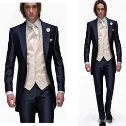 Wholesale Tuxedo Styles Morning - Morning Style Navy Blue One Button Groom Tuxedos Best Man Peak Lapel Groomsmen Men Wedding Suits Bridegroom jacket+pants+vest
