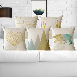 Wholesale Wholesale Geometric Pillow Cushion - Set of 4 Geometric Modern Cushion Pillow cover Sofa Pillowcase Cushion Case Cotton Linen for Home Car Office Decorative 45CM