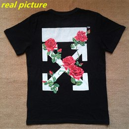 Wholesale High Quality Mens OFF WHITE T Shirt Male Cotton Rose Printed Black OFF WHITE T Shirts Fashion Casual Plus Size TShirt Top Tee