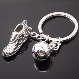 Wholesale Wholesale Football Key Chain - Soccer Shoes Football Ball Metal Keychain Key Chains Ring Zinc Alloy Sports Car Key Ring Keyfob Key Holder Llaveros Chaveiro