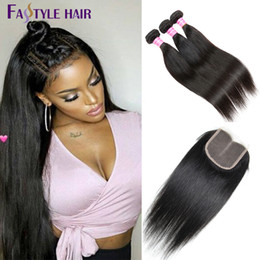 Wholesale Malaysian Swiss Lace Closure - Fastyle Indian Straight 3 Extension Bundles With Swiss Lace Closure UNPROCESSED Brazilian Peruvian Malaysian Virgin Human Hair Wefts