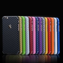 Wholesale Carbon Fiber Skin Stickers - Carbon Fiber 360 Degree Full Body Sticker Skin Case for iPhone 7 7 plus 6 6S Plus cell phone skins stickers