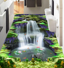 Wholesale Lotus Paper Wallpaper - wallpaper luxus 3d flooring Custom 3d floors Waterfall lotus carp vinyl flooring wallpaper living room