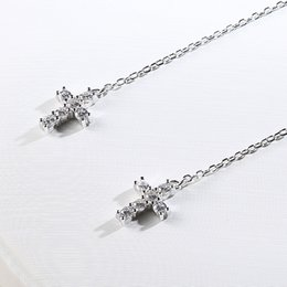 Wholesale S925 pure silver dangle earrings eardrop geometric cross stud earrings silver earring long earrings Zircon dangler E465