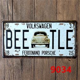 Wholesale Car Wall Plaque - Wholesale- 15*30 CM Vlokswagen Vintage Cars Metal Signs Decorative Tin Plates Wall Decor Plaque
