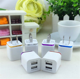 Wholesale Galaxy Tablets - Hot Metal Home Charger US EU Plug Dual USB 2.1A AC Power Adapter Wall Charger Plug 2 Ports For Samsung Galaxy S6 LG Tablet iPad iPhone 6s 7