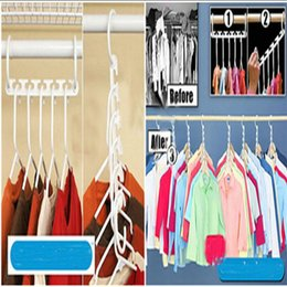 Wholesale Wholesale Pant Hangers Clips - 8pieces 1set Space Saver Wonder Magic Hanger Clothes Closet Organizer Hook Drying Rack Multi-Function Clothing Storage Racks