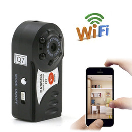 Wholesale Wifi Night Vision Pinhole Camera - Q7 Mini Wifi DVR Wireless IP Camcorder Video Recorder Camera Infrared Night Vision Camera Motion Detection Built-in Microphone