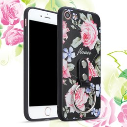 Wholesale Mobile Covers Printing - Flower Printing Bracket Phone Case For Apple iPhone 6 7 Plus Kickstand Armor Protective Ring Back Cover Mobile Cases For iphone 6s 7Plus