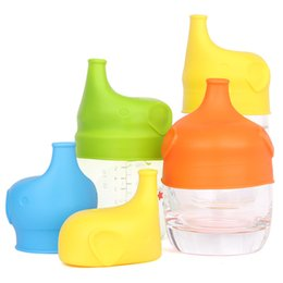 Wholesale Silicone Lids Covers - Elephant shape Anti-overflow SipSnap sippy silicone sippy cup lid baby sippy cups no leak for baby pacifier bowl cover 170402