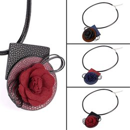 Wholesale Use Tie - U7 New 3 Color Vintage Flower Choker Collar Necklace Pendant Fashion Women PU Leather Collier Boho Jewelry 2 Use Accessories N2361
