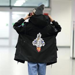 Wholesale Hooded Frock Coat - Rocket badge Embroidered hooded frock Coat Autumn Women Long sections Loose jacket Coat Female Black Windbreaker Outerwear