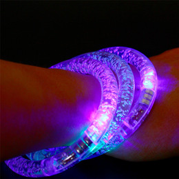 Wholesale Led Blinking Bracelets - LED Colorful Flashing Bracelet Light Acrylic Blinking Crystal Bracelets Color Hand Ring Bangle Stunning Dance Party Christmas Gifts