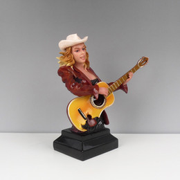 Wholesale Cowboy Metal Art - 40*20*41.5CM Arts Home American cowboy music characters guitar jazz band music figures ornaments jewelry female violinist gift opening